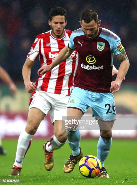 Phil Bardsley of Burnley in action during the Premier League match between Burnley and Stoke City at Turf Moor on December 12 2017 in Burnley England