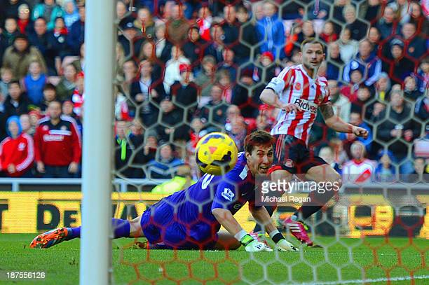 Phil Bardsley of Sunderland scores past Costel Pantilimon of Man City to make it 10 during the Barclays Premier league match bewtween Sunderland and...