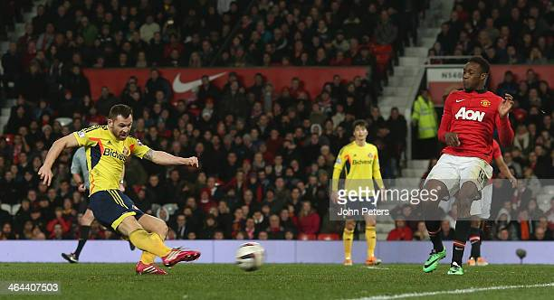 Phil Bardsley of Sunderland scores their first goal during the Capital One Cup semifinal second leg at Old Trafford on January 22 2014 in Manchester...