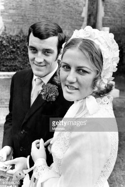Phil Bennett , and his bride Miss Patricia Jones after their wedding at Holy Trinity Church, Felinfoel, Llanelli, Wales, 22nd March 1970.