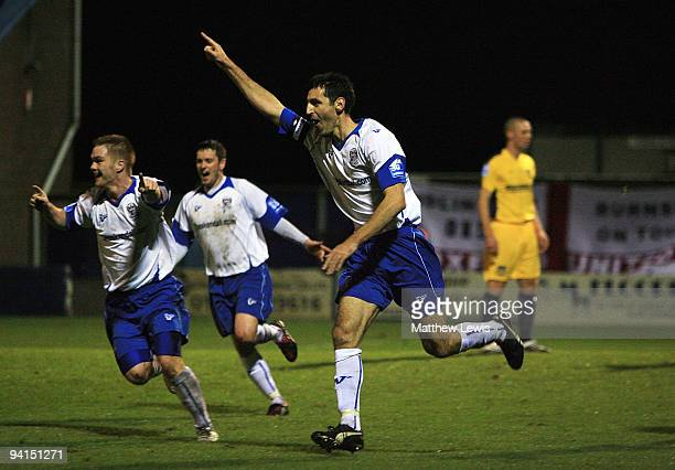 Phil Bolland of Barrow celebrates his goal during the FA Cup 2nd Round Replay match between Barrow and Oxford United at the Holker Street Stadium on...