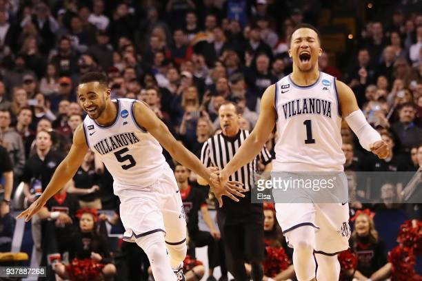 Phil Booth and Jalen Brunson of the Villanova Wildcats celebrate defeating the Texas Tech Red Raiders 7159 in the 2018 NCAA Men's Basketball...