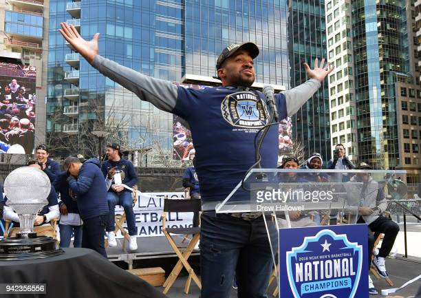 Phil Booth of the Villanova Wildcats acknowledges the crown during the men's basketball Championship Parade on April 5, 2018 in Philadelphia,...