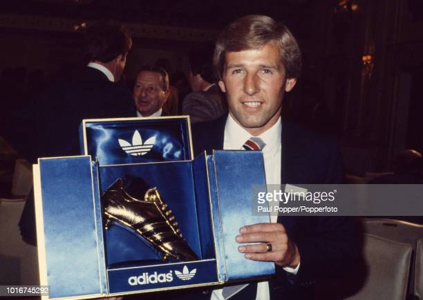 Phil Boyer of Southampton with the Adidas Golden Boot trophy at an awards night in London England circa May 1980
