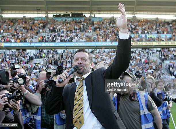 Phil Brown the Hull City manager celebrates after the Barclays Premier League match between Hull City and Manchester United at the KC Stadium on May...