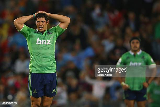 Phil Burleigh of the Highlanders looks dejected after their loss during the Super Rugby trial match between the Waratahs and the Highlanders at...