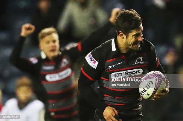 Phil Burliegh rune through to score his second try during the European Rugby Challenge Cup match between Edinburgh and London Irish on December 9...