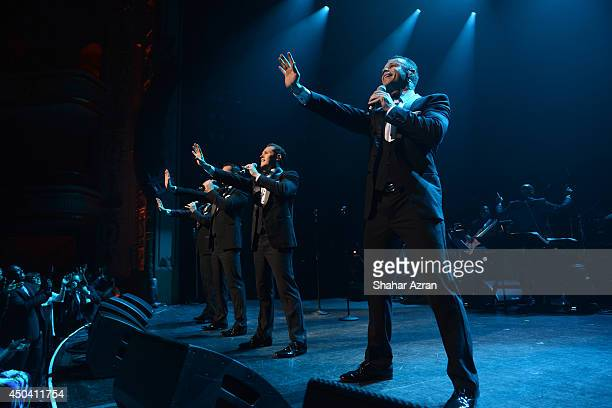 Phil Burton Andrew Tierney Michael Tierney and Toby Allen of Human Nature perform on stage during the Apollo Spring Gala and 80th Anniversary...