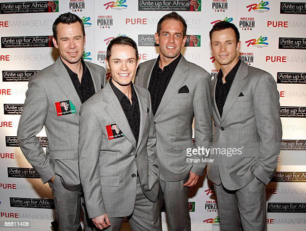 Phil Burton Michael Tierney Toby Allen and Andrew Tierney of the Australian vocal group Human Nature arrive at the Ante Up for Africa celebrity poker...