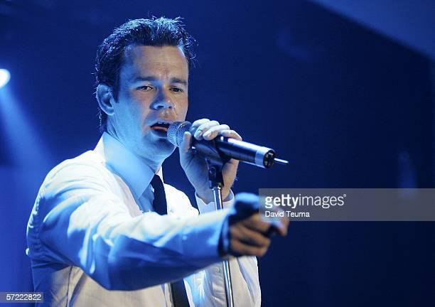 Phil Burton of Australian music group 'Human Nature' performs during the Australian Formula One Grand Prix Ball at the Crown Palladium Ballroom on...