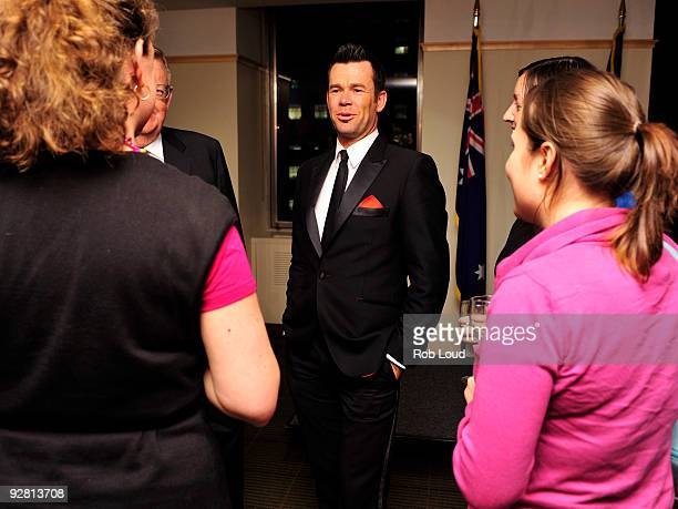Phil Burton of the Australian vocal group Human Nature speaks to fans after their performance at The Australian Consulate-General on November 5, 2009...
