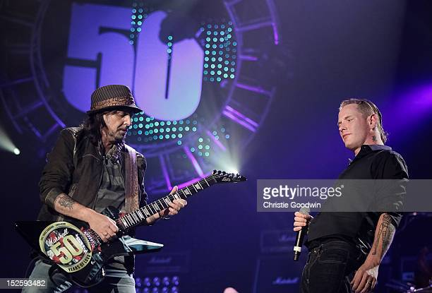 Phil Campbell and Corey Taylor perform on stage during the Marshall 50 Years Of Loud concert celebrating Marshall Amplifiers 50th anniversary at...