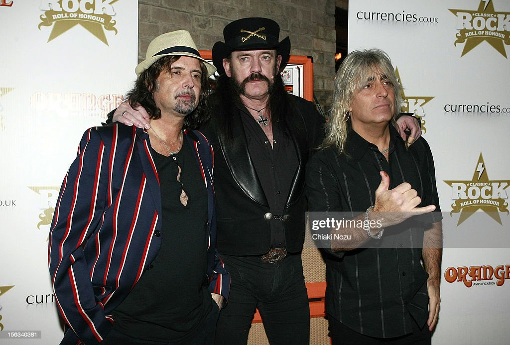 Phil Campbell, Lemmy Kilmister and Mikkey Dee of Motorhead attend the Classic Rock Roll of Honour at The Roundhouse on November 13, 2012 in London, England.