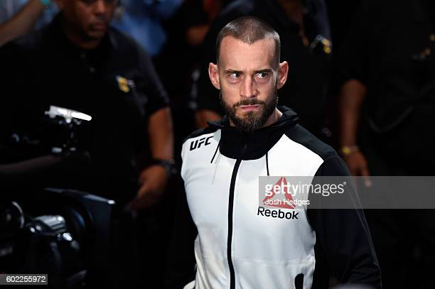 Phil 'CM Punk' Brooks enters the arena prior to facing Mickey Gall in their welterweight bout during the UFC 203 event at Quicken Loans Arena on...