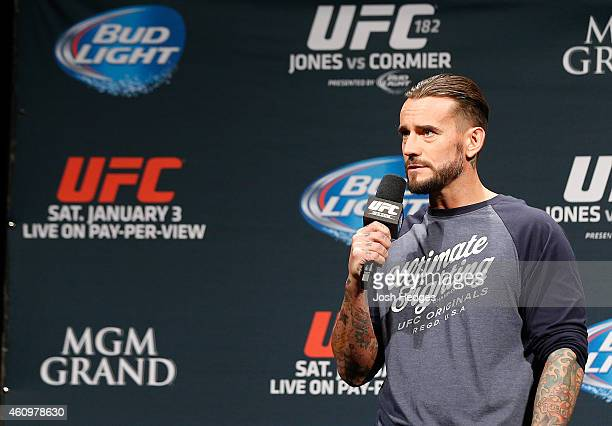 Phil CM Punk Brooks interacts with fans during a QA session before the UFC 182 weighin event at the MGM Grand Conference Center on January 2 2015 in...