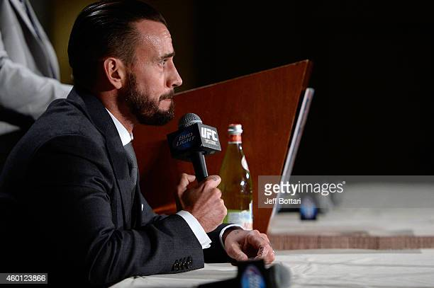 Phil 'CM Punk' Brooks speaks to the media during the UFC 181 post fight press conference inside the Mandalay Bay Events Center on December 6 2014 in...