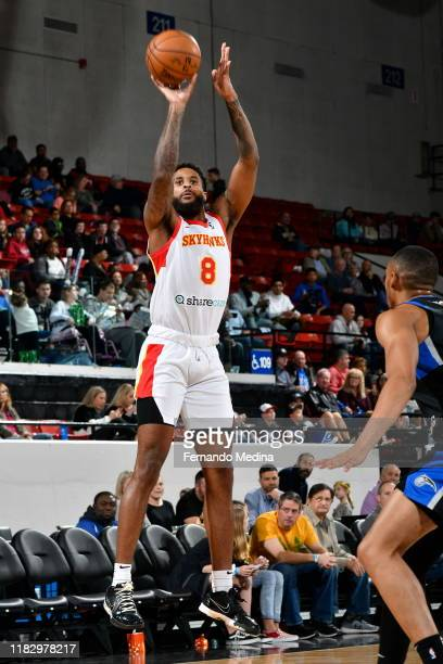 Phil Cofer of the College Park Skyhawks shoots against the Lakeland Magic during the game on November 15 2019 at RP Funding Center in Lakeland...