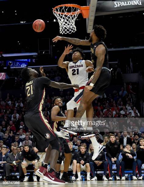 Phil Cofer of the Florida State Seminoles blocks the shot of Rui Hachimura of the Gonzaga Bulldogs in the second half in the 2018 NCAA Men's...