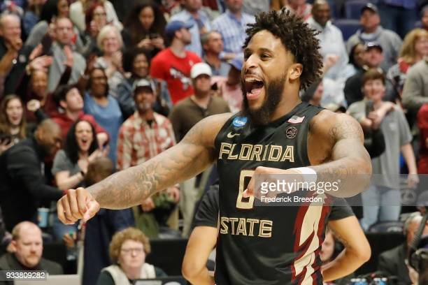 Phil Cofer of the Florida State Seminoles reacts after defeating the Xavier Musketeers in the second round of the 2018 Men's NCAA Basketball...