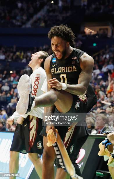 Phil Cofer of the Florida State Seminoles reacts against the Xavier Musketeers during the second half in the second round of the 2018 Men's NCAA...