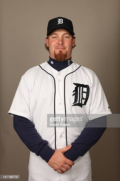 Phil Coke of the Detroit Tigers poses during Photo Day on Tuesday February 28 2012 at Joker Marchant Stadium in Lakeland Florida