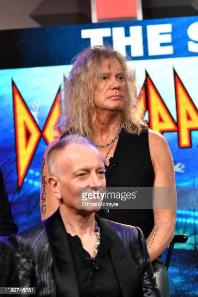 Phil Collen and Rick Savage of Def Leppard speak during the press conference for THE STADIUM TOUR DEF LEPPARD MOTLEY CRUE POISON at SiriusXM Studios...