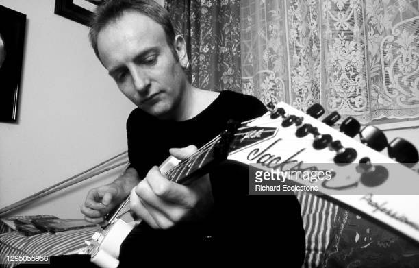 Phil Collen, English lead guitarist and member of rock band Def Leppard, 1996. He is playing a Jackson professional guitar.