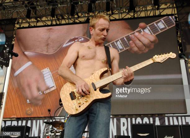 Phil Collen of Def Leppard during LIVE 8 Philadelphia Rehearsals at Philadelphia Museum of Art in Philadelphia Pennsylvania United States