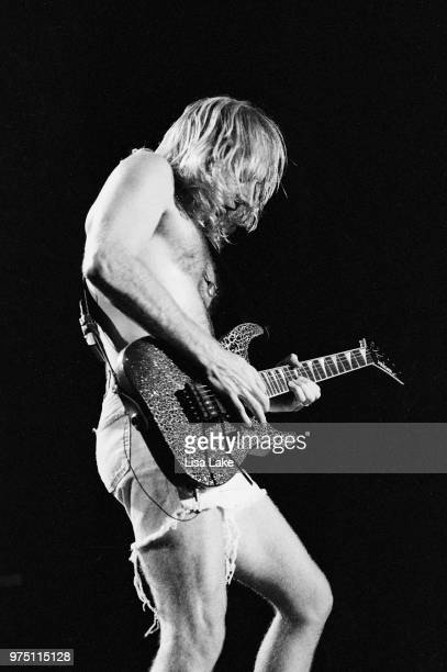 Phil Collen of Def Leppard performs on August 03, 1993 in Allentown, Pennsylvania.