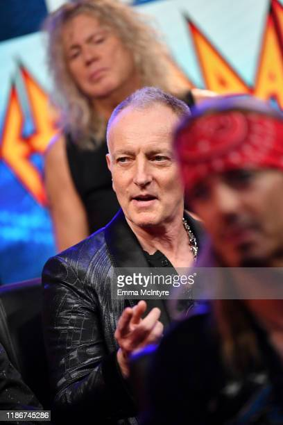 Phil Collen of Def Leppard speaks during the press conference for THE STADIUM TOUR DEF LEPPARD MOTLEY CRUE POISON at SiriusXM Studios on December 04...
