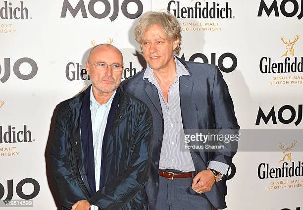 Phil Collins and Bob Geldof attend the Glenfiddich Mojo Honours List at The Brewery on July 21 2011 in London England
