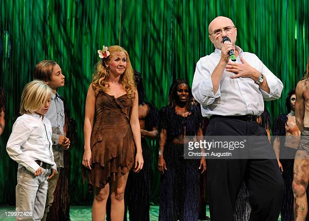 Phil Collins and both sons Matthew Collins and Nicholas Collins and Elisabeth Huebert attend Tarzan Musical 3rd anniversary at Theatre 'Neue Flora'...