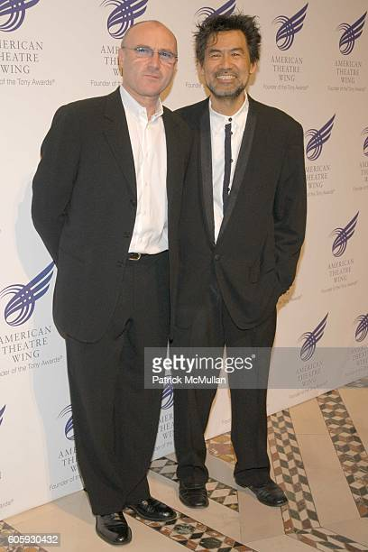 Phil Collins and David Henry Hwang attend The American Theatre Wing's Annual Spring Gala Honoring Matthew Broderick And Nathan Lane at Cipriani 42nd...