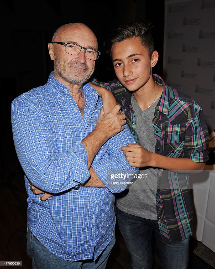 Phil Collins and Nicholas Collins attend the Little Dreams Foundation auditions at Markee Studios on June 20, 2015 in Deerfield Beach, Florida.
