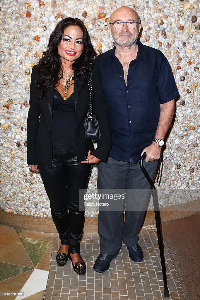 Phil Collins and Orianne Cevey attend Little Dreams Foundation Press Conference at LBar in Seminole Hard Rock Hotel & Casino Hollywood on March 4, 2016 in Hollywood, Florida.