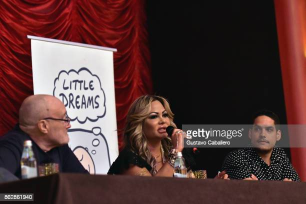 Phil Collins and Orianne Cevey attends the Little Dreams Foundation Gala Press Conference at Faena Hotel on October 18 2017 in Miami Beach Florida