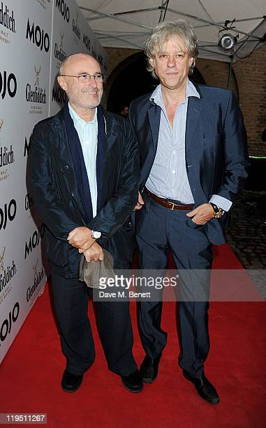 Phil Collins and Sir Bob Geldof arrive at the Glenfiddich Mojo Honours List 2011 awards ceremony at The Brewery on July 21 2011 in London England