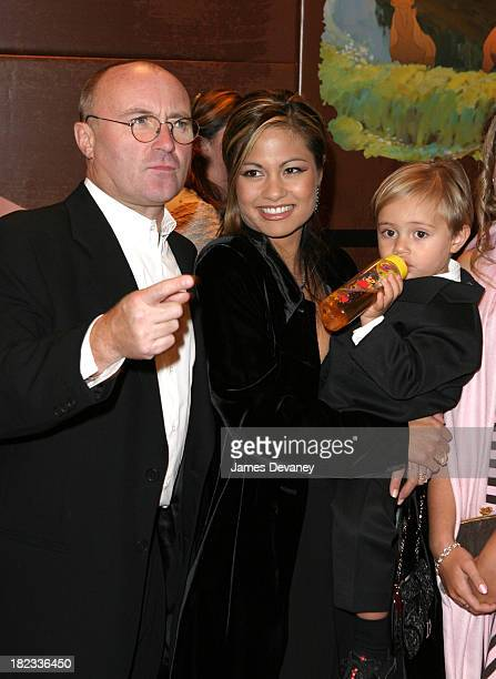 Phil Collins and wife Orianne Cevey and son Nicholas