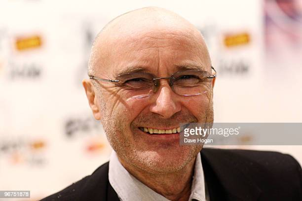 Phil Collins arrives at The Brit Awards 2010 held at Earls Court on February 16 2010 in London England
