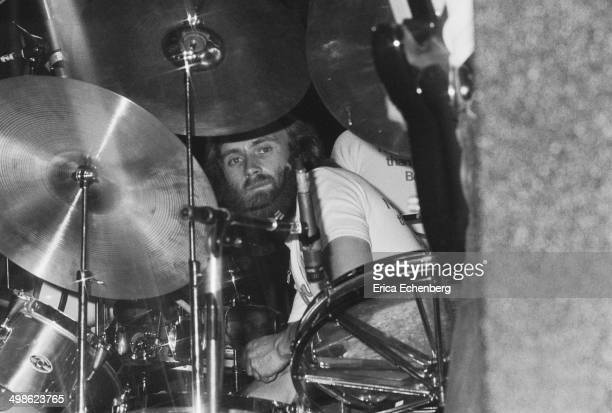 Phil Collins behind the drums while performing with Brand X at The Roundhouse,London, 31st May 1976.