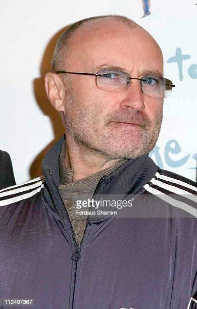 Phil Collins during Genesis 'Turn It On Again Reunion' Tour Press Conference at Mayfair Hotel in London Great Britain