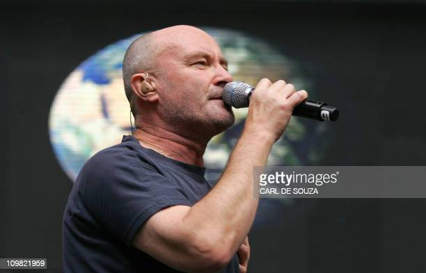 Phil Collins lead singer of British pop band Genesis performs at the Live Earth concert at Wembley stadium in London 07 July 2007 Organizers of...