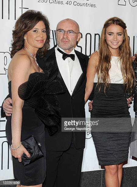 Phil Collins Lily Collins and guest attend the 41st annual Songwriters Hall of Fame at The New York Marriott Marquis on June 17 2010 in New York City