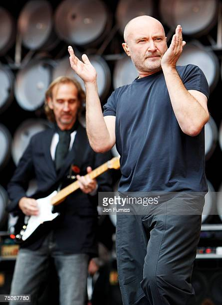 Phil Collins of Genesis onstage during the Live Earth concert held at Wembley Stadium on July 7 2007 in London Live Earth is a 24hour 7continent...
