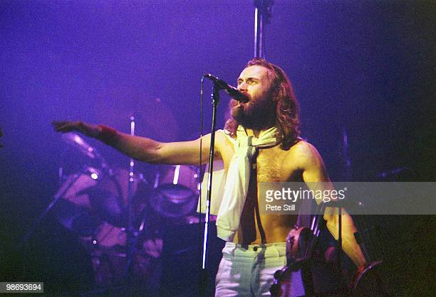 Phil Collins of Genesis performs on stage at the Playhouse Theatre in Edinburgh Scotland on January 14th 1977