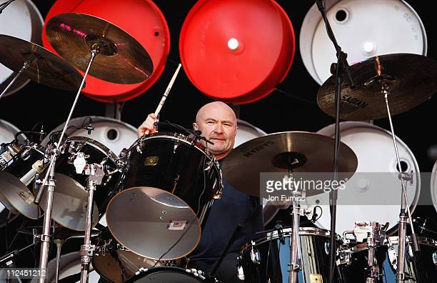 Phil Collins of Genesis performs on stage during the Live Earth concert held at Wembley Stadium on July 7 2007 in London Live Earth is a 24hour...