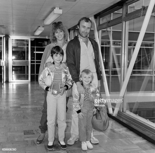Phil Collins of pop group Genesis with girlfriend Jill Tavelman and his children 10year old Joely and 5yearold Simon for a months tour of the states...