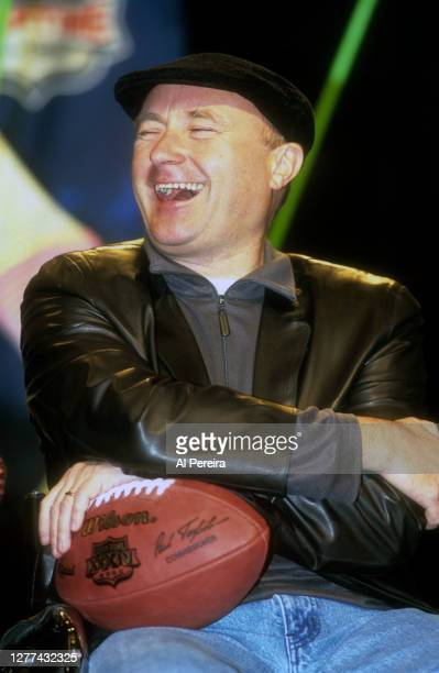 Phil Collins paticipates in a press conference before he performs during the Super Bowl XXXIV Halftime Show at the Georgia Dome on January 27, 2000...