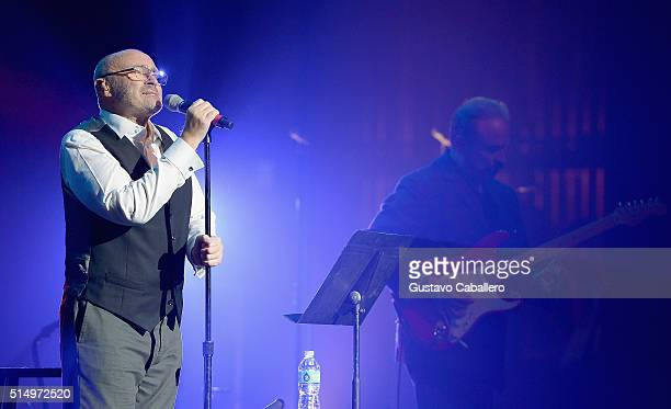 Phil Collins performs at The Little Dreams Foundation Benefit Gala Dreaming on the Beach at Fillmore Miami Beach on March 11 2016 in Miami Beach...