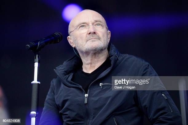 Phil Collins performs on stage at the Barclaycard Presents British Summer Time Festival in Hyde Park on June 30 2017 in London England